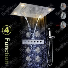 Luxury 600*800mm Remote Control Color Change Led Shower Set Recessed  Ceiling Rainfall Waterfall Spray Shower Head Set With Body Jets