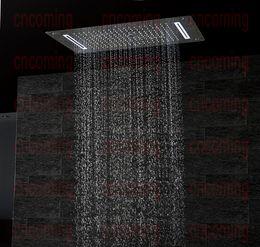Опт Роскошная ванная комната LED потолочные насадки для душа аксессуары SUS304 700x380 мм функции дождь водопад туман тумана душ DF5422