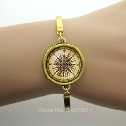 China Summer new design gift for best friends,compass bracelet men jewelry Plated metal cuff bangles steampunk bijoux free shipping cheap gold compass charm suppliers