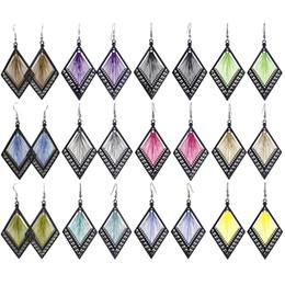 $enCountryForm.capitalKeyWord UK - Thread Earrings Rhombus Frame 24 Colors Wholesale Lots Hook Elegant Dangle Women Eardrop ( Blue Brown Green Purple Black Yellow Red )(JT018)