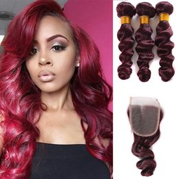 $enCountryForm.capitalKeyWord NZ - 2017 New Style 99J Peruvian Bundles Loose Wave With Lace Closure 99j Virgin Hair With Closure Wine Red Human Hair 4 Pcs Lot