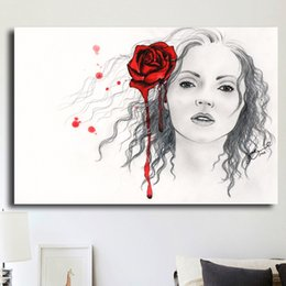 Art Canvas Prints Australia - 1 Pcs Black And White Girl With Rose Art HD Prints Poster Wall Pictures Canvas Painting For Living Room Decor No Framed