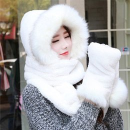 Barato Cachecol Chapéu Animal Atacado-Venda por atacado - Hot Sale Warm Animal Faux Fur Hats Fêmeas Hat Scarf Luvas Fluffy Plush Cap Ear Hood Shawl Christmas Gift 012