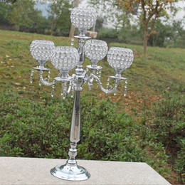 silver stick candle holder Canada - Top rated 76cm height 5-arms metal candelabras with crystal pendats, shiny silver finish wedding candle holder