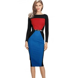 154c45f9cef9 2015 High Quality Womens Colorblock Tunic Business Casual Wear To Work  Office Party Sheath Bodycon Bandage Pencil Dress C1361