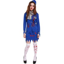 $enCountryForm.capitalKeyWord UK - 2018 New Adults Bloody Stewardess Costume Women Lady Cosplay Costumes Halloween Carnival Party Fancy Dress Decoration