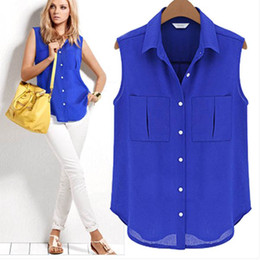 Discount Sleeveless Button Down Blouse | 2017 Sleeveless Button ...