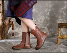 Rubber Day Canada - wholesale drop shipping flats brown genuine leather women winter boots vintage quality soft rubber ankle booties size35-40