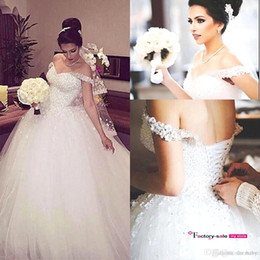 Chinese  Lebanon Said Mhamad Crystals Sparkly White Ball Gown Wedding Dresses Formal Off the Shoulder Sequins Lace-up Back Church Bridal Gowns BO9233 manufacturers