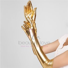 Cuir De Nylon Sexy Pas Cher--Femmes en gros Gants Sexy gothiques longs gants Five Fingers Faux Latex Gants en cuir Gants Sexy or Wet Look Adulte Sexy Latex
