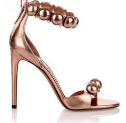 9a34a0d832a new fashion gold leather Summer Women High Heel Sandals Ball Embellished  Gladiator high heel Sandals
