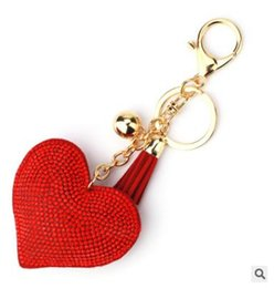 China 2018 New Heart Shape Leather Tassels Plated Fashion New Style Shinning Keychain Key Ring Jewelry For Lovers Friends bag pendant suppliers