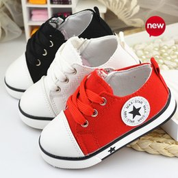 Baby Girl Summer Canvas Shoes Australia - 2015 baby summer spring Canvas children's shoes star fashion sneaker kids lace-up casual shoes for girls boys black withe red