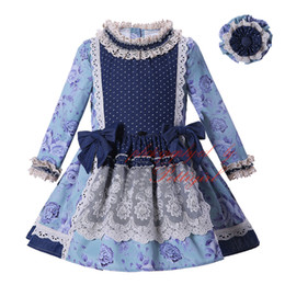 Chinese  Pettigirl Hot Selling New Autumn Girl Dress Printing Clothing With Lace High Waist Kids Boutique Wear Vintage Clothes G-DMGD004-D12 manufacturers