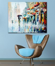 Street Art Canada - Palette Knife Oil Painting Walking On The Street Daily Life Scene Picture Canvas Prints Mural Art for Home Office Wall Decoration