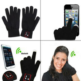 bluetooth pens UK - Bluetooth Touch Screen Talking Gloves Mobile Handset Speaker Hi Call Loudspeaker For Iphone Smart Phone Winter Thick Warmer Christmas 50pcs