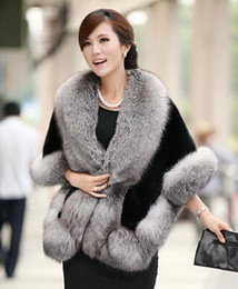 Discount women mink fur vests - 2016 New Winter Leather grass fox fur mink rabbit fur poncho cape bridal wedding dress shawl cape women vest fur coat