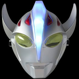Costume D'ultraman Pas Cher-Mode Ultraman Taro LED Kids Masque Full Face Music Shiny Jeu Anime Film Masque Fête des enfants Day Party Costume Halloween Props 10pcs / lot SD353