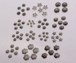 Sıcak ! 300 adet Antik gümüş Alaşım 14-Style Çiçek Boncuk Kap Takı Aksesuarları (mm30)