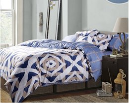 Bedsheet Cotton White Australia - Luxury blue geometric bedding set king size queen quilt doona duvet cover designer bed in a bag sheets bedspreads bedsheet tencel sanding