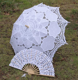 Parasol fans online shopping - Hot Selling Wedding Lace Bridal Parasols and Fans Sets European Court Umbrella New Photography props Beautiful Bridal Accessories