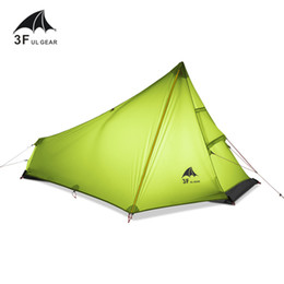 Chinese  Wholesale- NEW 3F UL GEAR 740g Oudoor Ultralight Camping Tent 3 Season 1 Single Person Professional 15D Nylon Silicon Coating Rodless Tent manufacturers