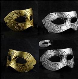 Party Half Face Mask Prince Men Canada - Men Retro Gold Silver Party Masks Roman Warriors Design Masquerade Masks Prince Half Face Masks Halloween Supplies Masks