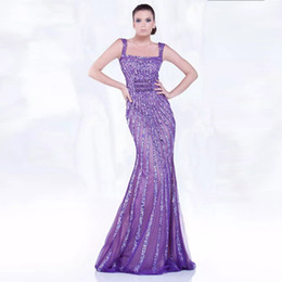 Barato Trombeta De Sereia De Lantejoulas-Purple Square Neck Evening Dresses Sequin Beads Spaghetti Strap Mermaid Evening Gowns Dubai Trumpet Prom Party Gowns
