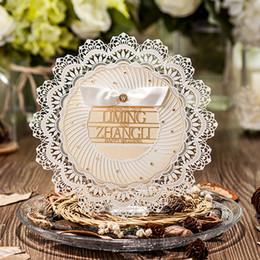 $enCountryForm.capitalKeyWord NZ - 50pcs Lot Circular Beige Laser Cut Lace Flower Invitations Cards for Engagement Wedding Birthday Graduation Anniversary