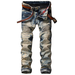 Barato Calças Da Moda-Retro Classic Special Colors Jeans New Style Trendy Stitching Jean Pants Moda calças para homens All Season
