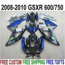 Chinese  ABS full fairing kit for SUZUKI GSXR750 GSXR600 2008-2010 K8 K9 black blue fairings set GSXR 600 750 08 09 10 KS66 manufacturers