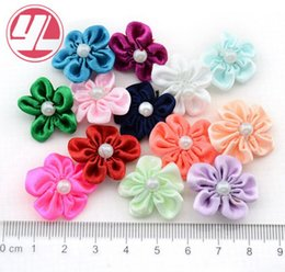 Satin ribbon hair acceSSorieS online shopping - Hand Made Satin fabric flowers with pearl Plum Flower boutique children hair accessories Christmas Garment accessories