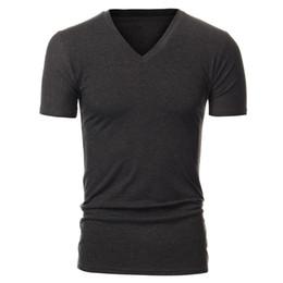 b9eb90f4 10 Colors 2015 New Summer Style Mens Fashion Slim Fit V-neck Casual Short  Sleeve Plain T-shirt Sport Gym Top Tee Camisas L-XXL FG1511