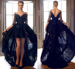 short long sleeve feather cocktail dress Canada - Sexy Hi Lo Black Prom Dresses Lace Formal Cocktail Dresses Beads Bateau Neck Long Sleeves Formal Evening Gowns Arabic Party Ball Gowns