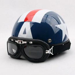 Xl Capitaine America Casque Pas Cher-Gros-D.52 Vintage ABS Motocross Captain America Casco Half visage Scooter Motocycle Gloss bleu