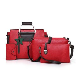 Discount luxury clutch handbags - Luxury Hand Bag PU Leather Tassel Handbag 4 Pcs Composite Bags Set Lady Shoulder Crossbody Women Bag Female Wallet Clutc