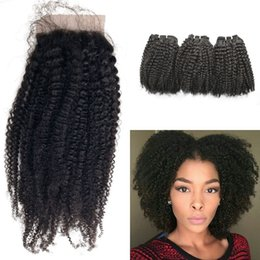 Discount curly peruvian hair bundles closures - 4*4 Knky Curly Silk Base Closure With Brazilian Virgin Hair Weave Bundles 100% Human Hair Extensions