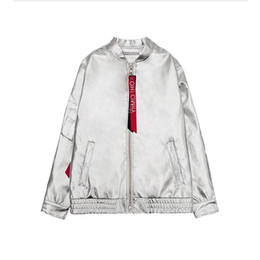 Barato Colete De Couro Colete De Beisebol-Wholesale- Fashion Ladies Cool New Silver Tops Streetwear Punk Style Mulheres PU Leather Stand Collar Bomber Jacket Coat Baseball Uniform