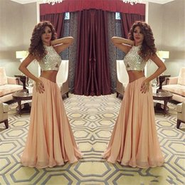 Blue Chiffon Pleated Fabric Canada - Pearl Pink Two Piece Crystal Prom Dresses Sexy Jewel Chiffon Fabric EVening Formal Party Gowns 2015 Spring Summer Collection custom Made