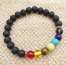 Barato Pedras Quentes Baratas-New Arrival Hot Lava rock Beads Bracelet Nova moda Cheap Jewelry Chakra Head Bangles Black Lava Stone Buddha Beads Bracelets For Women