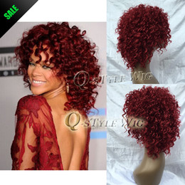 Hair Salon Wigs Canada - Rihanna Hairstyle Wigs Red Wine Color Pin Curl Perm Curly Wave Synthetic Hair Wig Salon Full Cap Hair Wigs Free Shipping H0355b