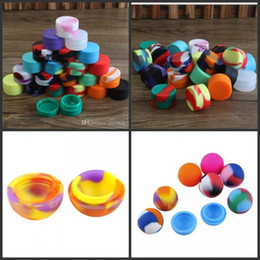 Herb Wax Oil Vapor Canada - Mix Style ball holder food grade silicone jars dab wax oil container silicon wax silicone tin dry herb case box vapor pen DHL