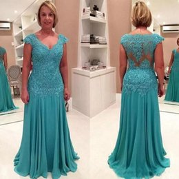Barato Teal Chiffon Dress Lace Cap Sleeve-Modest Mother of the Bride Dress V Neck Capped Sleeves Illusion Back Lace Appliques Teal Chiffon Vestidos da mãe Evening Party Gowns
