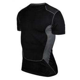 Barato Manga Curta Sob Camisa De Base-Wholesale-Men Fashion Wear Under Pro Base Layer Short Sleeve Athletic Sports T-Shirts