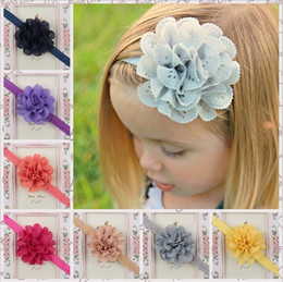chiffon mesh flowers wholesale Canada - Children Hair Accessories Baby Girls 8cm Large mesh flower Headbands with Ruffled Chiffon Flower With Elastic Hair Band 15 Color KHA81