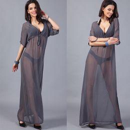 567ef8a66a01e Chiffon Beach Cover-Ups Long Dresses Sheer mesh sheer beach dress sexy V  Neck bikini cover up dresses 2018 one piece swimsuit
