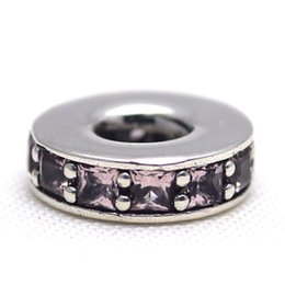 China Eternity Abstract Spacer Blush Pink Crystal 100% 925 Sterling Silver Beads Fit Pandora Charms Bracelet DIY Brand Fashion Jewelry suppliers