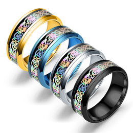gold plated rings for men 2019 - 2017 Stainless Steel Rings Silver Rainbow carved dragon piece Totem Band Rings For men&women s Fashion Titanium steel Je