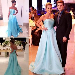 Barato Barato Strapless Cetim Longo Vestidos-Elegante Strapless Light Blue Satin Long Evening Dresses 2017 Backless A Line Cheap Prom Vestido Pavimento Length Vestidos Cheap Formal Party Gowns