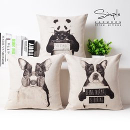 dog black animals cases Canada - 3 Styles European Vintage Animals Art Cushion Covers Hand Painting Panda Dog Cushion Cover Sofa Decorative Beige Linen Pillow Case